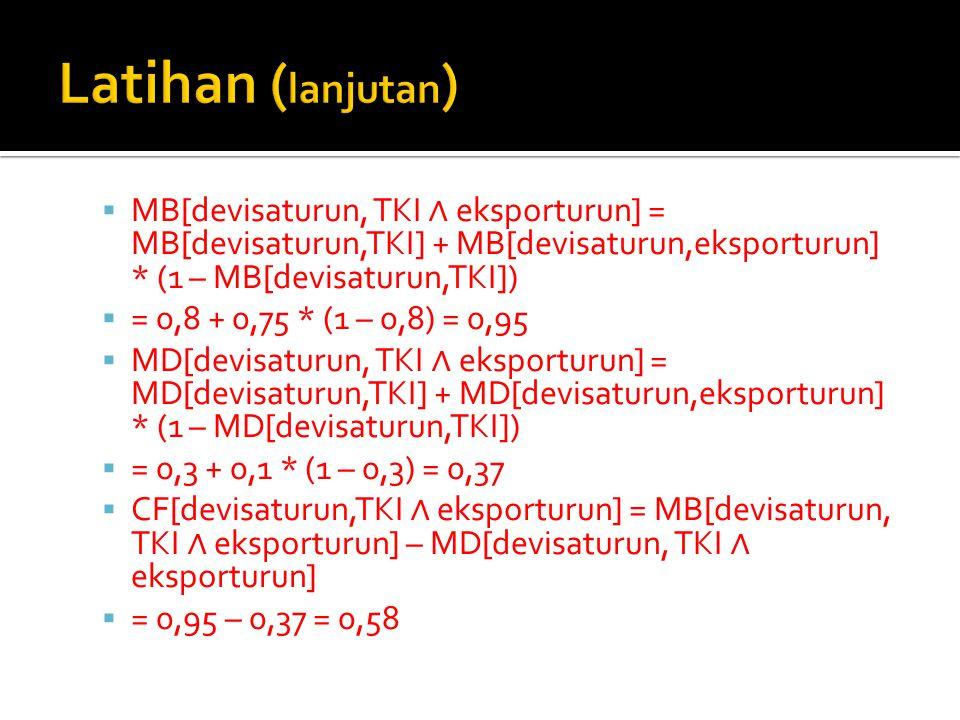 Latihan (lanjutan) MB[devisaturun, TKI ∧ eksporturun] = MB[devisaturun,TKI] + MB[devisaturun,eksporturun] * (1 – MB[devisaturun,TKI])